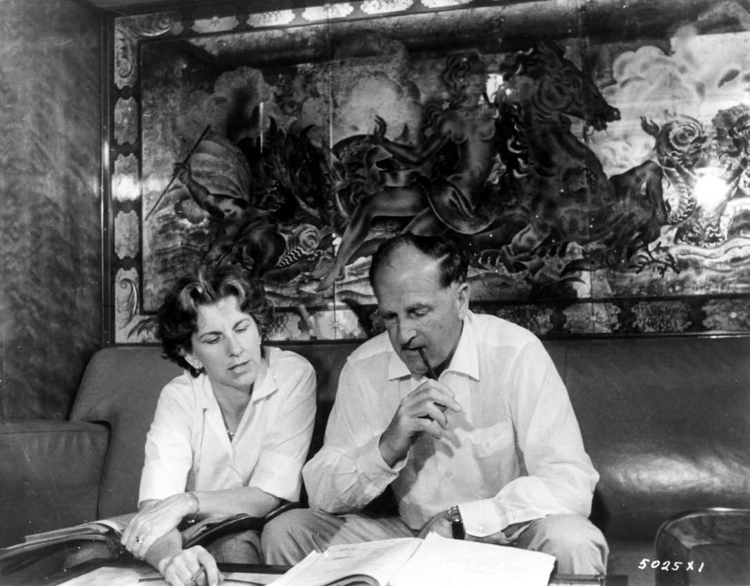 Virginia and Andrew Stone on the set of The Last Voyage