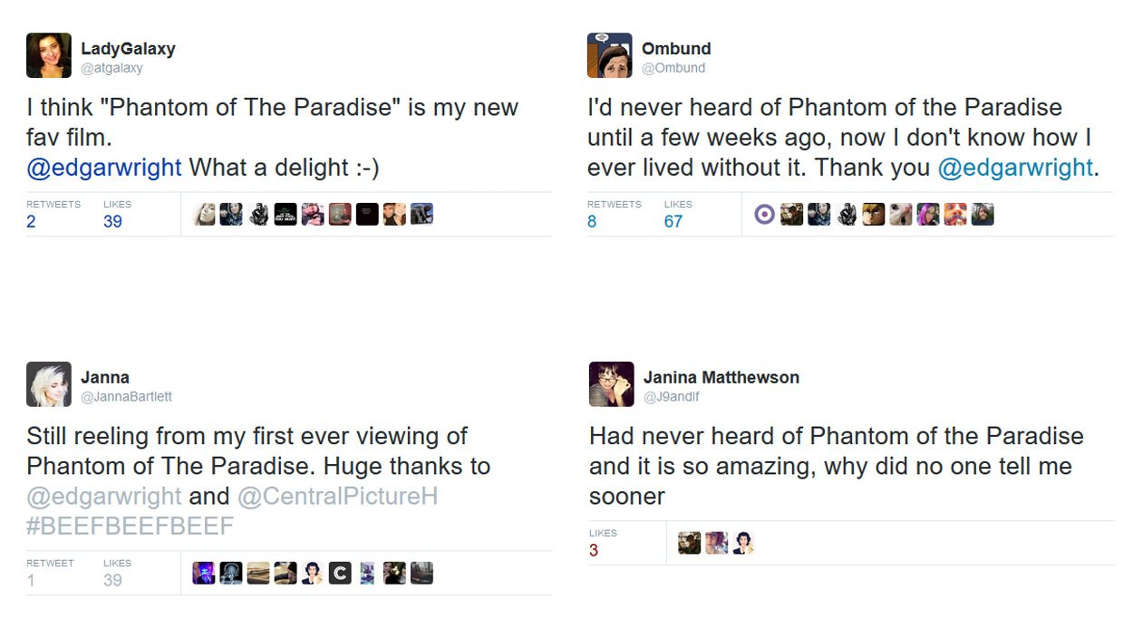Phantom of the Paradise twitter reactions