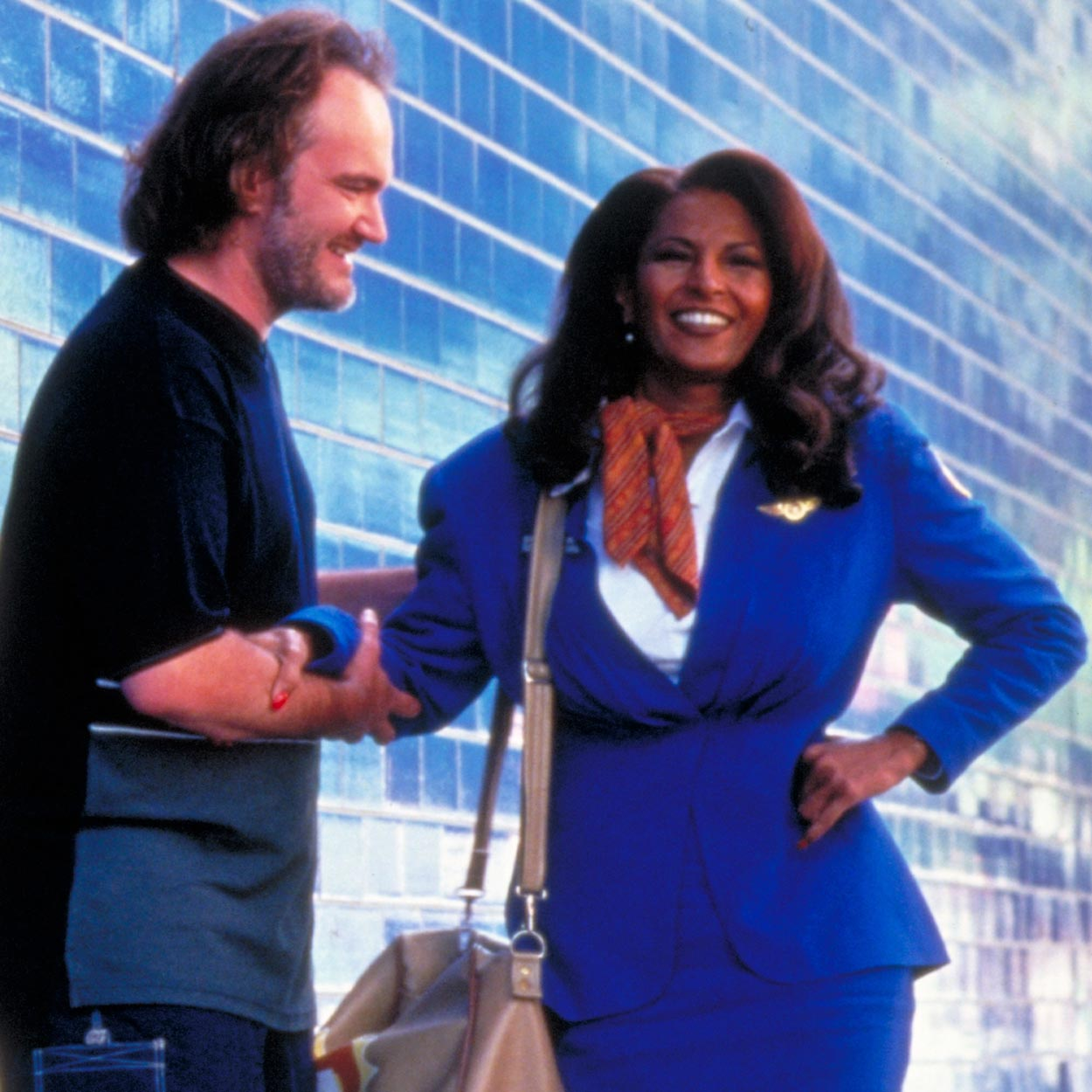 Quentin Tarantino with Pam Grier on Jackie Brown